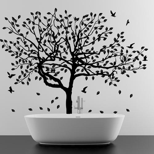 """Seinakleebis """"Suur puu lehtede ja lindudega"""""""