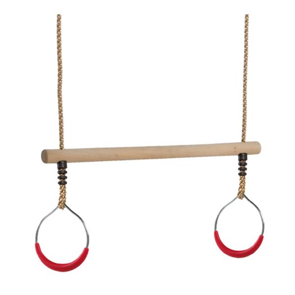 Kiik puidust trapets kahe metall rõngaga